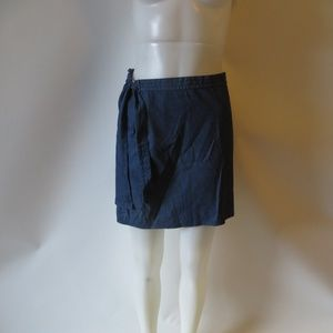 BURBERRY LONDON BLUE COTTON DENIM WRAP SKIRT M